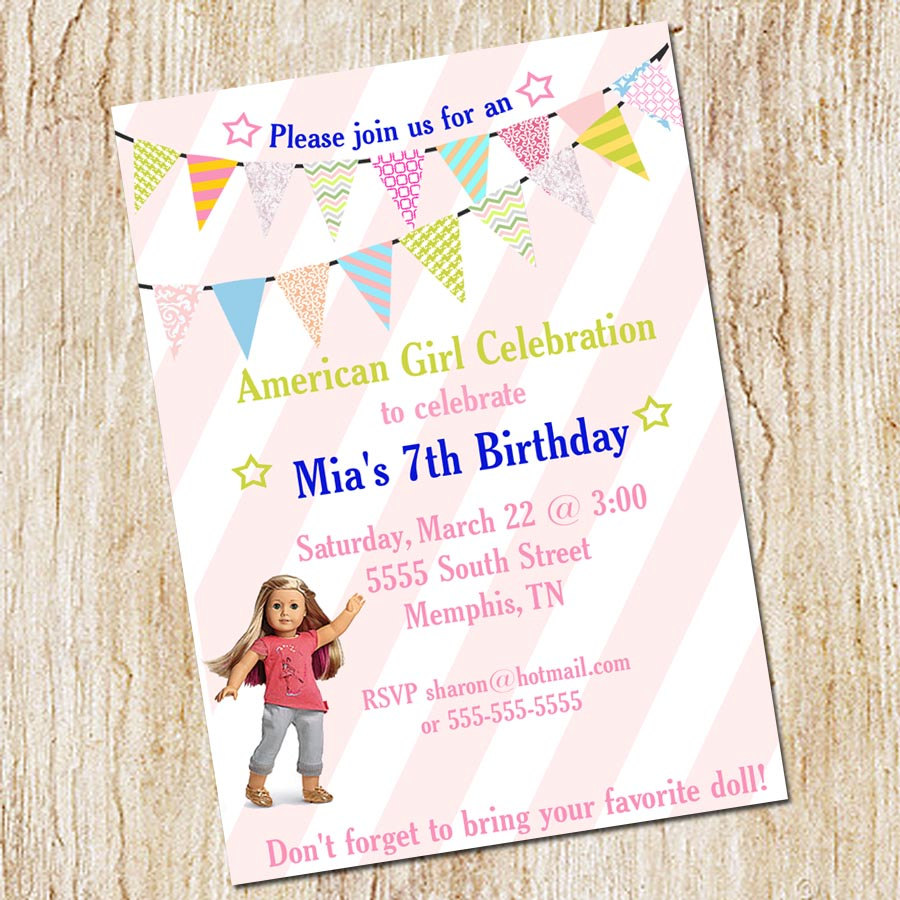 American Girl Birthday Party Isabelle Invitations Printable