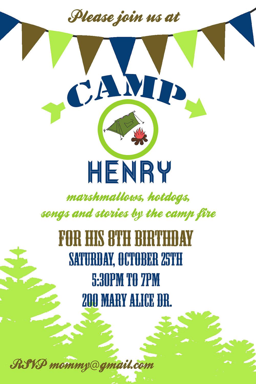Camping Party invitation- Camping Birthday Invitation- Digial File ...