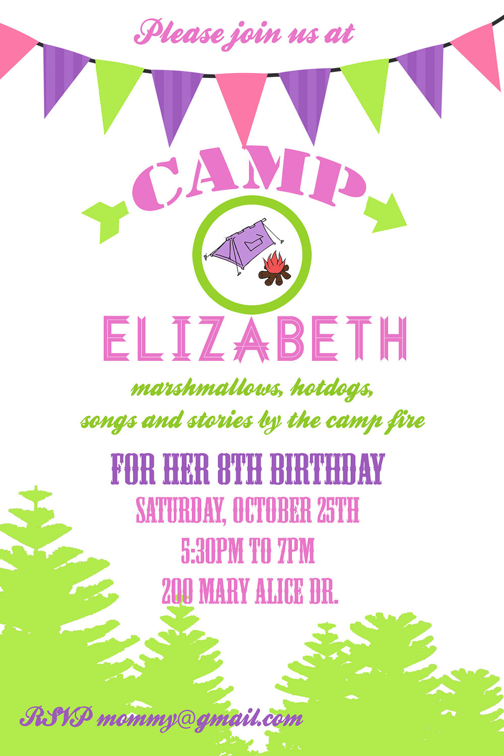Camping Party Invitation Birthday Digial File Printable Or Printed Invitations