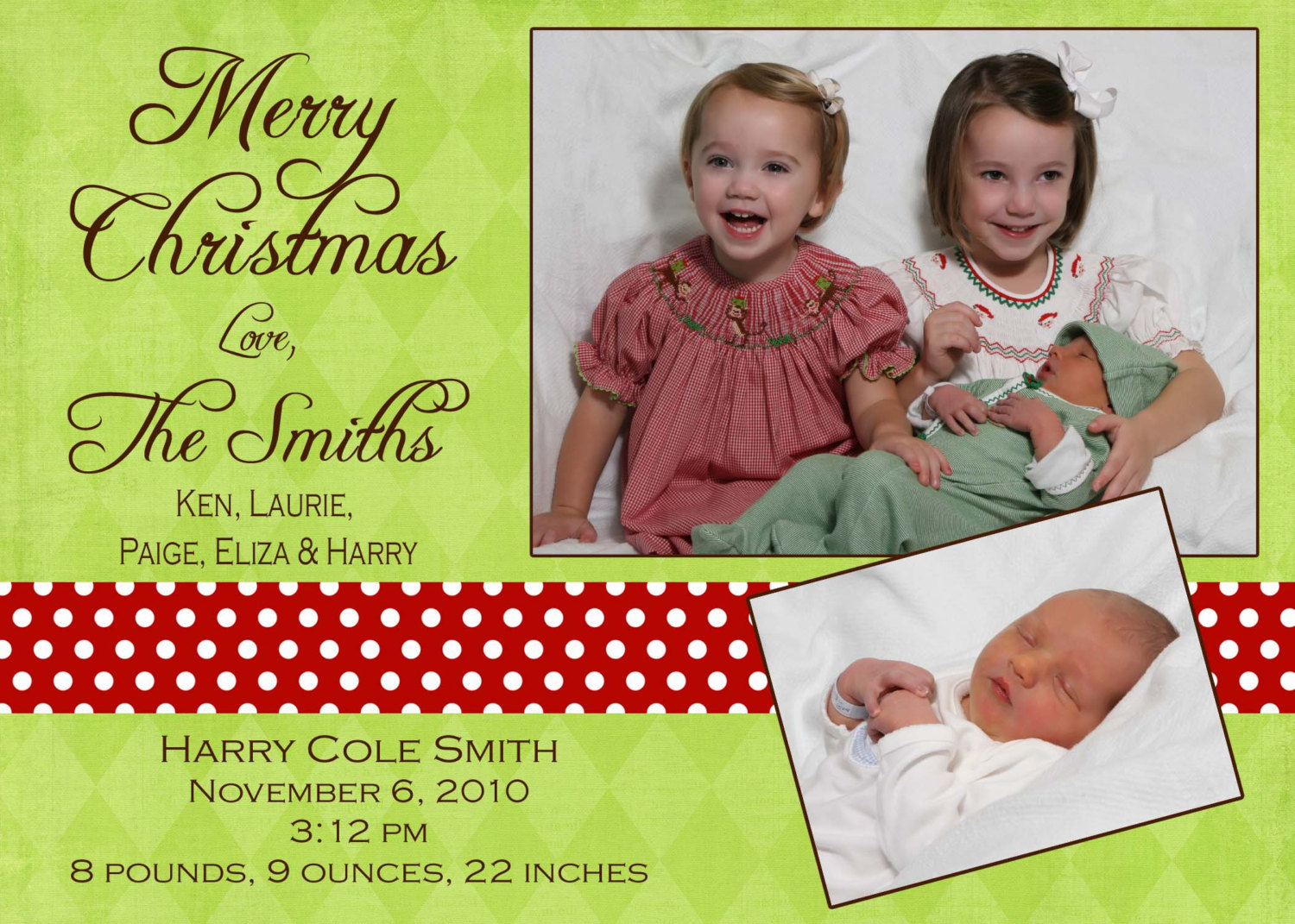 Christmas birth announcement - photo Christmas Card - Digital file ...