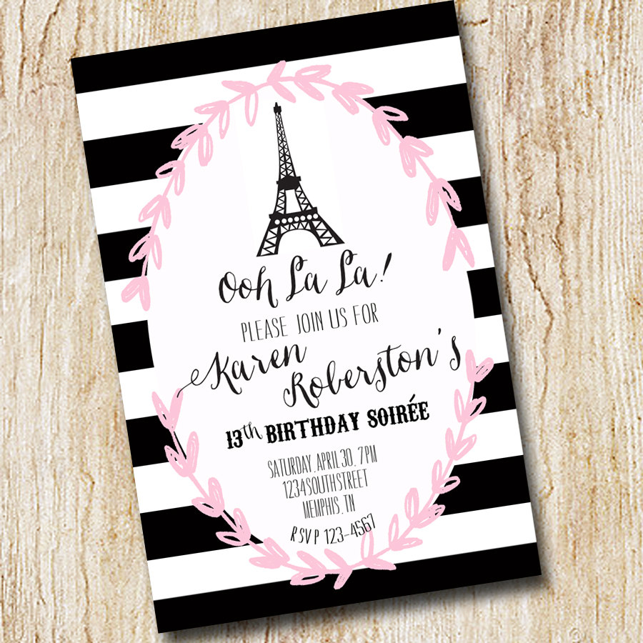 Paris eiffel tower girl birthday party invitation bridal shower paris eiffel tower girl birthday party invitation bridal shower digial file print yourself baby shower black stripes sip and see filmwisefo