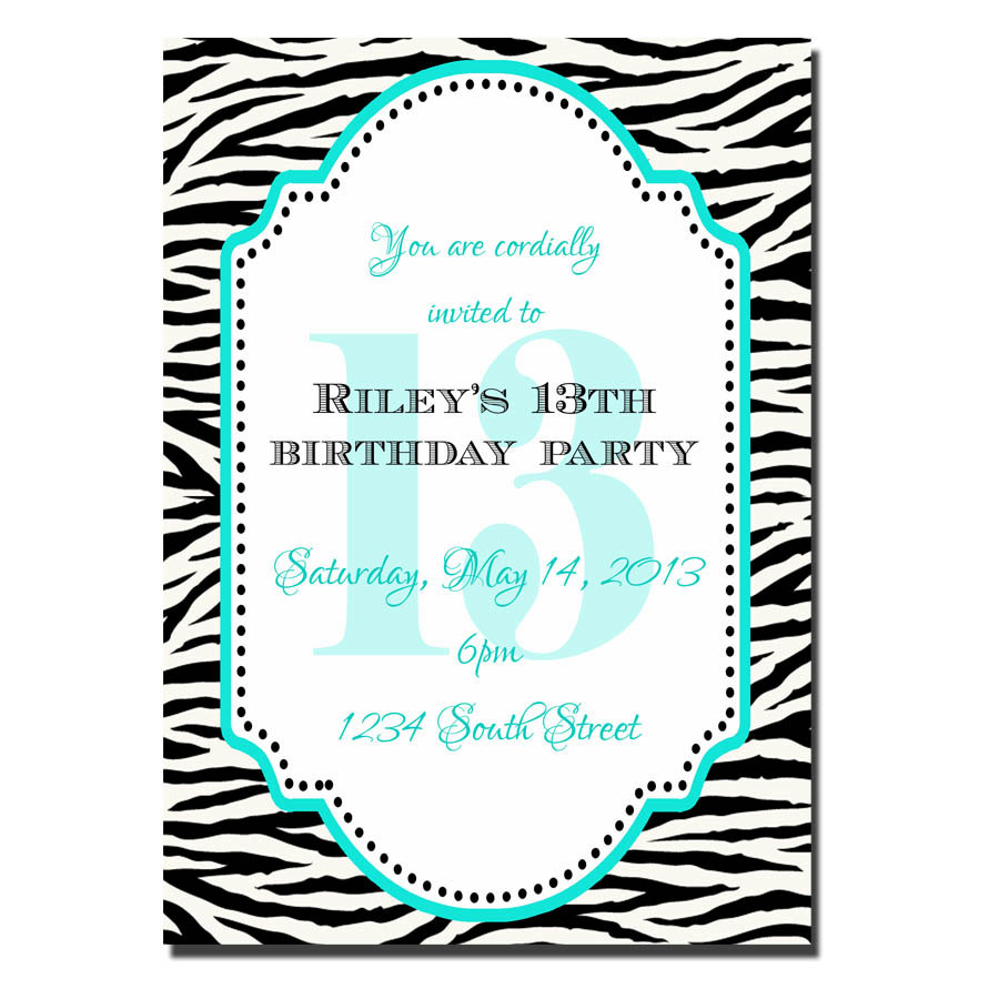 13th Birthday Party Invitation Girl Digial File Print Yourself Custom Zebra