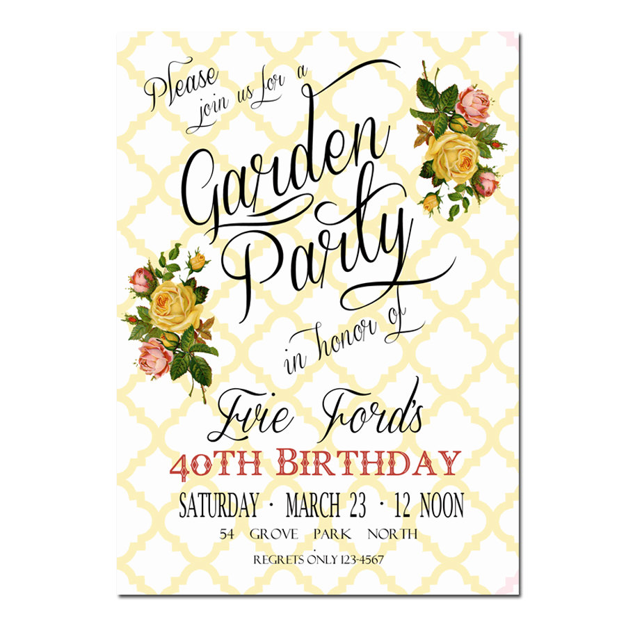 Garden Party Invitation - Bridal Shower Invitation -Digital File ...